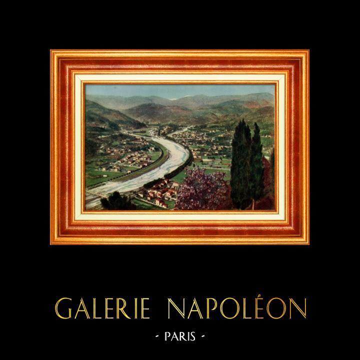 Gravures Anciennes & Dessins   France - Côte d'Azur - Nice - Provence  - La Vallée du Paillon   Héliochromie   1928