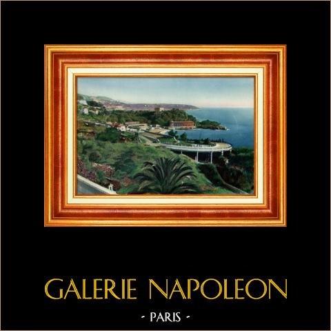 France - Côte d'Azur - French Riviera - Provence - Principality of Monaco - Monte Carlo Casino - Beach Casino and Le Cap-Martin | Original heliochromy. Anonymous. 1928