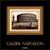 Vista de Roma - Italia - Anfiteatro Flaviano - O Coliseu - Meta Sudans - Colosso de Neron | Heliogravura em sépia original. Anónima. 1936