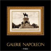 View of Rome - Italy - Monument to Giuseppe Garibaldi - Piazza Garibaldi | Original sepia toned heliogravure. Anonymous. 1936