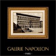 Vue de Rome - Italie - Palais Farnèse - Palazzo Farnese (Sangallo) | Héliogravure sépia originale. Anonyme. 1936