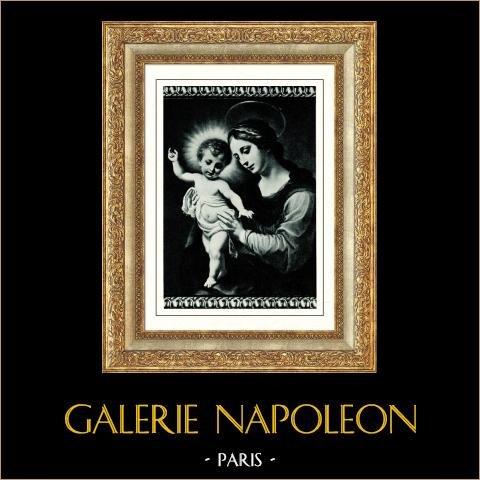 Galerie Borghèse - Madone - La Vierge avec L'Enfant Jésus (Carlo Dolci) | Héliogravure originale d'après Carlo Dolci. Anonyme. 1936