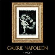 Galleria Borghese - Madonna - Vergine Maria con Gesù Bambino (Carlo Dolci) | Heliogravure originale secondo Carlo Dolci. Anonima. 1936