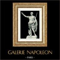 Museos Vaticanos - Braccio Nuovo - Prima Porta - Estatua del Emperador Romano Octavio Augusto | Original heliograbado. Anónimo. 1936