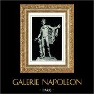 Museos Vaticanos - Mitología Romana - Estatua - Apolo de Belvedere también llamado el Apolo Pitio | Original heliograbado. Anónimo. 1936