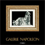 Musées du Vatican - Sculpture Grecque - Mythologie - Ariane Endormie après l'Abandon de Thésée | Héliogravure originale. Anonyme. 1936