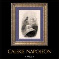 Historia av Napoleon Bonaparte - Napoleon Bonaparte Född 1769 i Ajaccio Korsika | Original stålstick efter teckningar av A. Raffet, graverade av Burdet. 1839