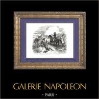 Geschichte von Napoleon Bonaparte - Tod des Generals Causse - Koalitionskriege - Italien Expedition   Original holzstich gezeichnet von A. Raffet. [tiré à part]. 1839
