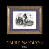 Historia de Napoleón Bonaparte - Batalla del Puente de Arcole - Campaña Napoleónica en Italia - Lannes - Masséna - Augereau (1796) | Original grabado en madera (xilografía) dibujado por A. Raffet. [tiré à part]. 1839