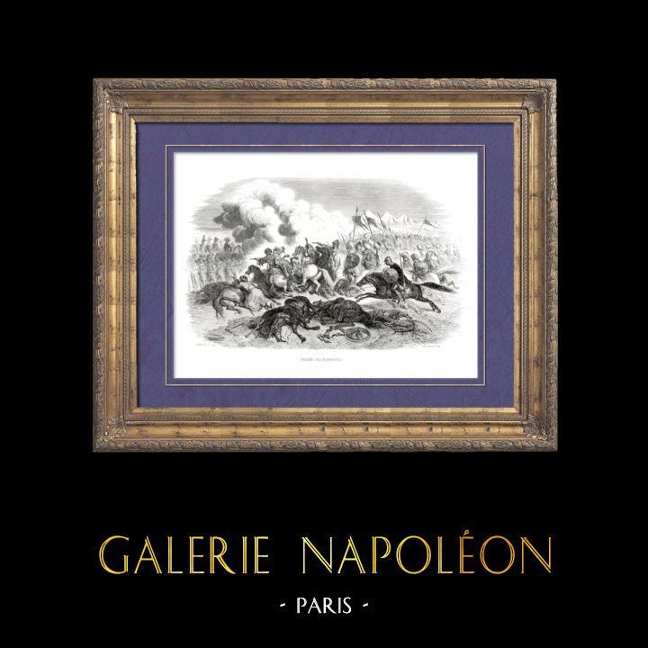 Gravures Anciennes & Dessins   Histoire de Napoléon Bonaparte - Guerres Napoléoniennes - Bataille des Pyramides (1798) - Campagne d'Égypte   Gravure sur bois   1839
