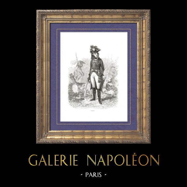 Gravures Anciennes & Dessins | Histoire de Napoléon Bonaparte - Mort de Kléber - Général Français assassiné durant la Campagne d'Egypte - Guerres de la Révolution | Gravure sur bois | 1839