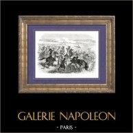 História de Napoleão Bonaparte - Guerras Napoleónicas - A Batalha de Aboukir ou A Batalha do Nilo - Egipto (1798) | Gravura em madeira original (xilogravura) desenhada por A. Raffet, gravada por Hébert. [tiré à part]. 1839
