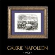Histoire de Napoléon Bonaparte - Guerres Napoléoniennes - La Bataille d'Iéna (1806) | Gravure sur bois originale dessinée par A. Raffet, gravée par Quartley. [tiré à part]. 1839