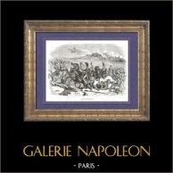 Histoire de Napoléon Bonaparte - Guerres Napoléoniennes - Bataille d'Austerlitz (2 décembre 1805) - Napoléon Ier - Grande Armée - Autriche | Gravure sur bois originale dessinée par A. Raffet, gravée par Lavoignat. [tiré à part]. 1839