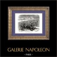 History of Napoleon Bonaparte - Napoleonic Wars - Battle of Eylau (1807)   Original wood engraving drawn by A. Raffet. [tiré à part]. 1839