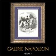 Geschichte von Napoleon Bonaparte - Porträt von Napoléon I Kaiser zu Pferde (1807)   Original holzstich gezeichnet von A. Raffet, gestochen von Hébert. [tiré à part]. 1839