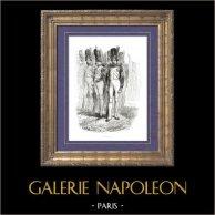 Storia di Napoleone Bonaparte - La Guardia imperiale fu creata da Napoleone Bonaparte - Granatiere della Vecchia Guardia | Incisione xilografica originale disegnata da A. Raffet, incisa da Pollet. [tiré à part]. 1839