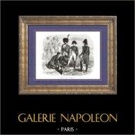 Storia di Napoleone Bonaparte - Battaglia di Ratisbona (1809) - Napoleone fu Ferito | Incisione xilografica originale disegnata da A. Raffet, incisa da J. Caque. [tiré à part]. 1839