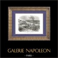 Historia de Napoleón Bonaparte - Guerras Napoleónicas - Campaña de Rusia - Napoleón Bonaparte - Niemen | Original grabado en madera (xilografía) dibujado por A. Raffet, grabado por Quartley. [tiré à part]. 1839