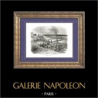 History of Napoleon Bonaparte - Napoleonic Wars - Campaign in Russia - Napoleon Bonaparte - Neman | Original wood engraving drawn by A. Raffet, engraved by Quartley. [tiré à part]. 1839