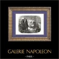 Historia de Napoleón Bonaparte - Muerte de Duroc - Batalla de Bautzen - Campaña d'Alemania | Original grabado en madera (xilografía) dibujado por A. Raffet. [tiré à part]. 1839