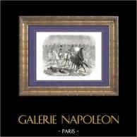 Historia av Napoleon Bonaparte - Napoleonkrigen - Slaget av Brienne (1814) - Kosacker - Preussen - Blücher | Original trästick efter teckningar av A. Raffet, graverade av J. Caqué. [tiré à part]. 1839