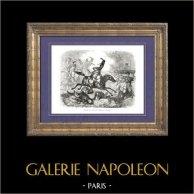 Geschichte von Napoleon Bonaparte - Dragoner - Trelliard - Nangis | Original holzstich gezeichnet von A. Raffet, gestochen von Bernard. [tiré à part]. 1839