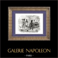 Histoire de Napoléon Bonaparte - Bataille de Montereau (1814) - Campagne de France - Sixième Coalition | Gravure sur bois originale dessinée par A. Raffet, gravée par Pollet. [tiré à part]. 1839