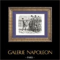 Geschichte von Napoleon Bonaparte - Napoleon Kommt von der Insel Elba Zurück (Grenoble 1815) | Original holzstich gezeichnet von A. Raffet, gestochen von V. Loutrel. [tiré à part]. 1839