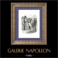 Histoire de Napoléon Bonaparte - Guerres Napoléoniennes - Adieux de Fontainebleau (1814)   Gravure sur bois originale dessinée par A. Raffet, gravée par Dears. [tiré à part]. 1839