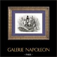 History of Napoleon Bonaparte - Battle of Waterloo - Ney - Hundred Days - Seventh Coalition - Wellington | Original wood engraving drawn by A. Raffet, engraved by Hébert. [tiré à part]. 1839