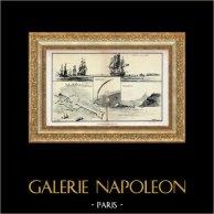 Historia de la Marina Francesa - Navío - Estrategia Militar - Bloqueo Naval - La Rochelle - Zeebrugge - Port-Arthur | Original plancha dibujado por Albert Sebille. 1926