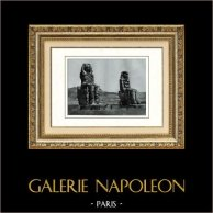 Ancient Egypt - Egyptology - Necropolis - The Colossi of Memnon - Statues of Pharaoh Amenhotep III | Original heliogravure on art paper. Anonymous. 1920