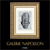 Ancient Egypt - Egyptology - The Egyptian Art - Sculpture - Head of the Statue of Senusret III - Sesostris III - Netjerkeperu (Karnak) | Original heliogravure on art paper. Anonymous. 1920