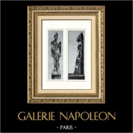 Ancient Egypt - Egyptology - The Egyptian Art - Pharaoh - Head of the Statue of Thutmose III - Tuthmosis III (Karnak) | Original heliogravure on art paper. Anonymous. 1920