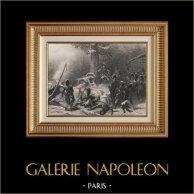 Guerres Napoléoniennes - Retraite de Russie - Napoléon Ier - Maréchal Ney (1812) | Gravure sur acier originale dessinée par Karl Girardet, gravée par Paul Girardet. 1840