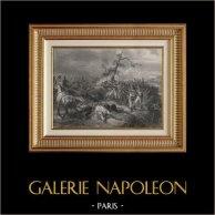 I Bambini di Parigi davanti Witepsk - Campagna di Russia - Napoleon - Bacler d'Albe (1812) | Incisione su acciaio originale secondo Horace Vernet incisa da John Outhwaite. 1840