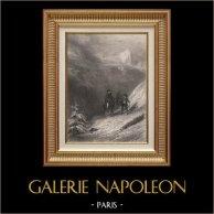Guerras Napoleónicas - Napoleón Bonaparte Cruzando los Alpes por el Paso de San Bernardo | Original acero grabado dibujado por Karl Girardet, grabado por John Outhwaite. 1840