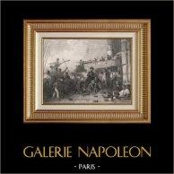 Bataille Navale de Trafalgar - L'Algesiras - Mort de l'Amiral Magon (1805) | Gravure sur acier originale dessinée par Karl Girardet, gravée par Paul Girardet. 1840