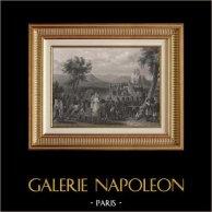 Guerre Napoleoniche - Arrivo di Napoleone al Campo di Boulogne (1804) | Incisione su acciaio originale disegnata da Karl Girardet, incisa da Colin. 1840