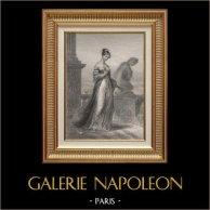Retrato de la Princesa Pauline Borghèse - Hermana de Napoleón Bonaparte (1780-1825) | Original acero grabado dibujado por A. Sandoz, grabado por Pannier. 1840