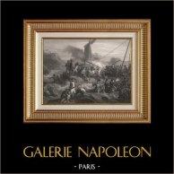 Napoléon - Combat sur la Plage de Boulogne - Camp de Boulogne - Colonne de la Grande Armée (1804) | Gravure sur acier originale dessinée par Eugène Charpentier, gravée par Beyer. 1840