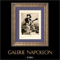 Le Chanteur Espagnol - Le Guitarrero (Edouard Manet) | Héliogravure originale sur papier velin d'après Edouard Manet. Anonyme. 1910