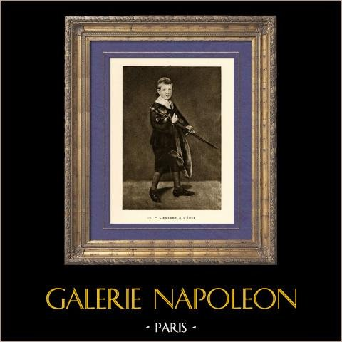L'Enfant à l'Epée (Edouard Manet) | Héliogravure originale sur papier velin d'après Edouard Manet. Anonyme. 1910