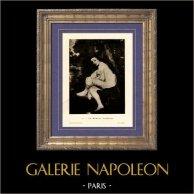 Ninfa Sorpresa - La Nymphe Surprise - Suzanne Leenhoff (Edouard Manet) | Incisione heliogravure originale su carta velina secondo Edouard Manet. Anonima. 1910