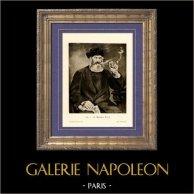 Il Fumatore di Pipa -  Le Fumeur - La Bonne Pipe (Edouard Manet) | Incisione heliogravure originale su carta velina secondo Edouard Manet. Anonima. 1910