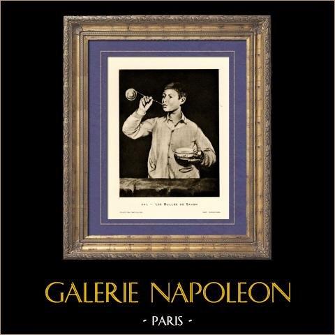 Les Bulles de Savon (Edouard Manet) | Héliogravure originale sur papier velin d'après Edouard Manet. Anonyme. 1910