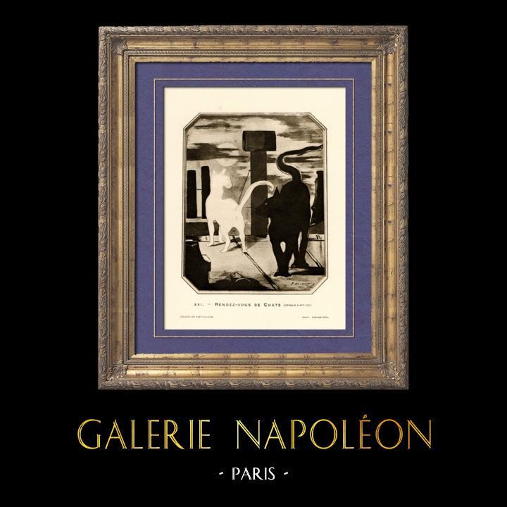 Gravures Anciennes & Dessins | Le Rendez Vous des Chats - Croquis d'Affiche (Edouard Manet) | Héliogravure | 1910