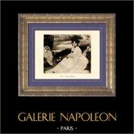 In Giardine - In the Garden - Au Jardin (Edouard Manet) | Incisione heliogravure originale su carta velina secondo Edouard Manet. Anonima. 1910