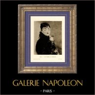 Mery Laurent - La Femme au Carlin - Mery Laurent au Carlin - Femme en Corsage noir tenant un Chien (Edouard Manet) | Incisione heliogravure originale su carta velina secondo Edouard Manet. Anonima. 1910